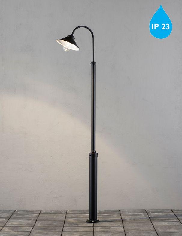 Konstsmide 'Vega' IP23 (2400mm) LED Outdoor Lamp Post Fixture, Matt Black Finish & Clear Glass Diffuser - 563-750 None