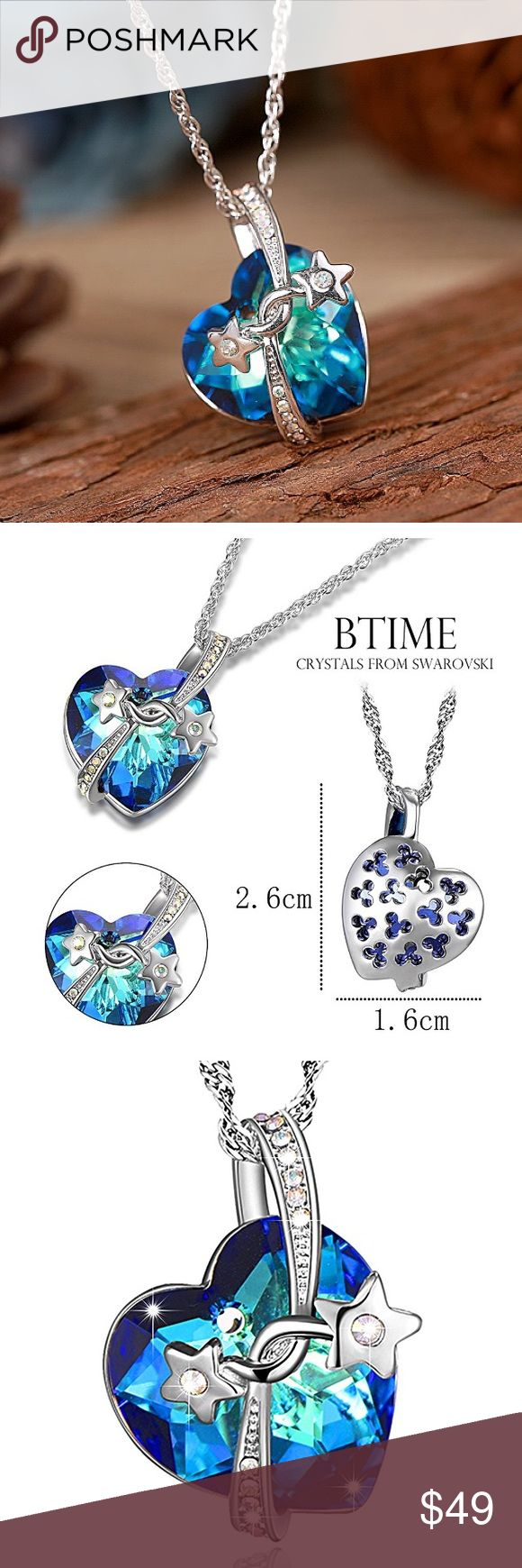 "NIB Heart Pendant Necklace Crystals from Swarovski NEW IN BOX ""Heart of the Ocean"" Engraved Bermuda Blue Heart Pendant Necklace Crystals from Swarovski DLS7314 Jewelry Necklaces"
