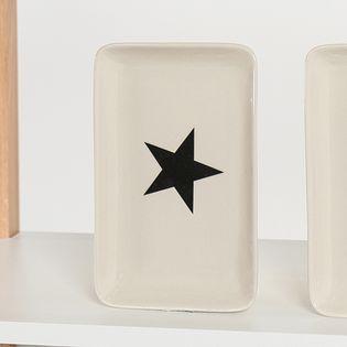 Plat rectangulaire grès blanc cassé étoile noire Bloomingville | DECOCLICO