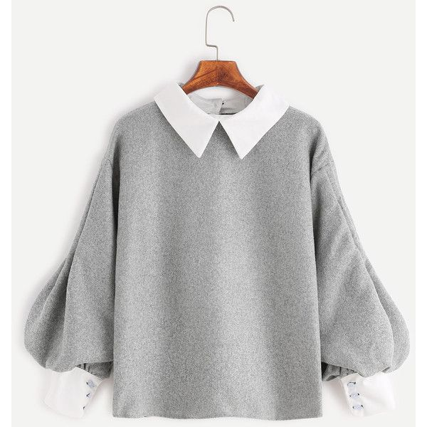 SheIn(sheinside) Contrast Trim Lantern Sleeve Button Back Blouse ($15) ❤ liked on Polyvore featuring tops, blouses, grey long sleeve top, embellished collar top, long sleeve blouse, grey blouse and grey top