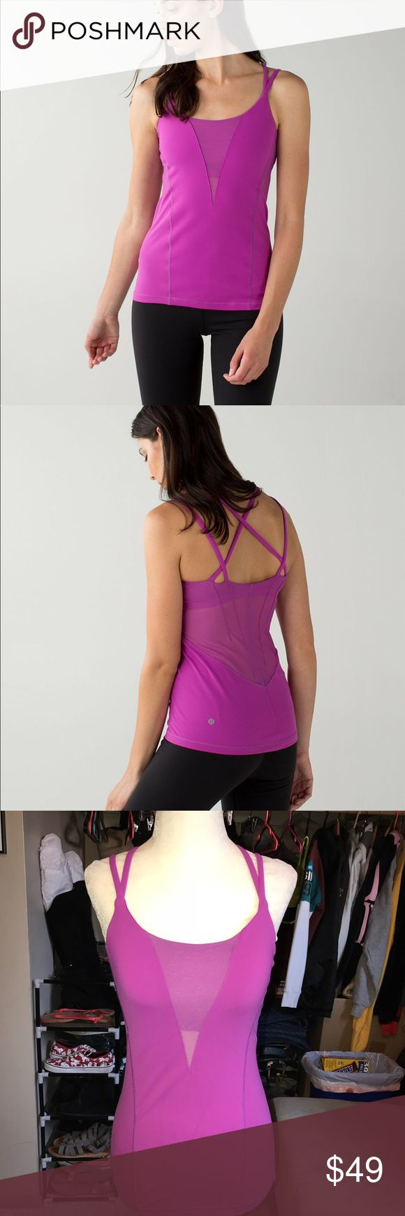 Lululemon exquisite tank in ultra violet Worn once, in great condition. This super ventilated, strappy tank was made for the sweatiest of got practices. A full mesh back and sweat wicking fabric helps us stay cool when things really heat up. Full on luon fabric is sweat wicking and four way stretch. Licra Fibres for great shape retention. Full mesh back and sides help you let off steam. Built-in bra designed with pockets for optional, removable cups. Designed for: yoga. Fit: tight…