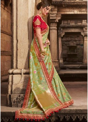 e1d3dab00e Light Green Woven Art Silk Saree with Heavy Blouse in 2019 | indian attire  | Green saree, Art silk sarees, Banarsi saree
