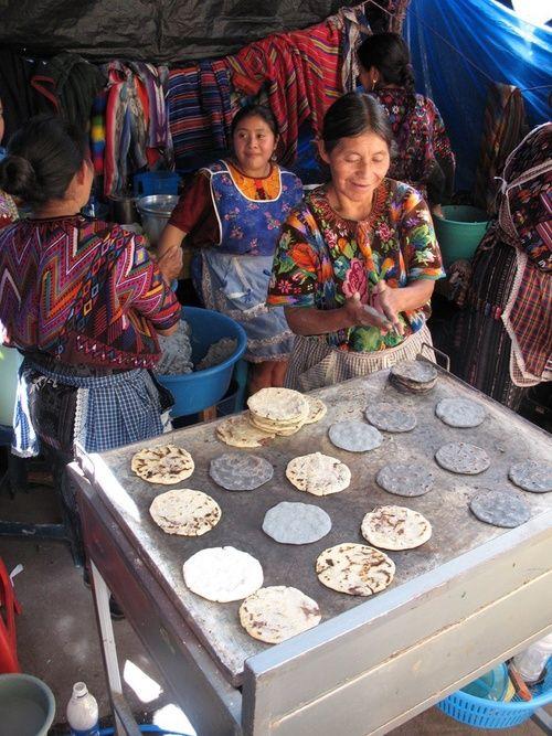 blue and white tortillas chichicastenango guatemala
