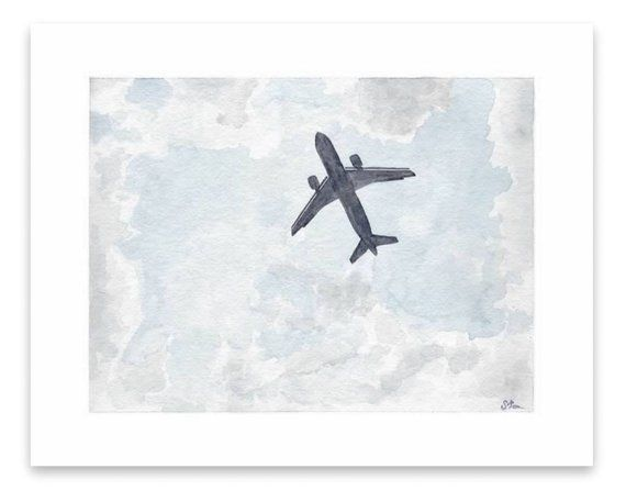 Watercolor Painting Print Plane Overhead In 2020 Watercolor