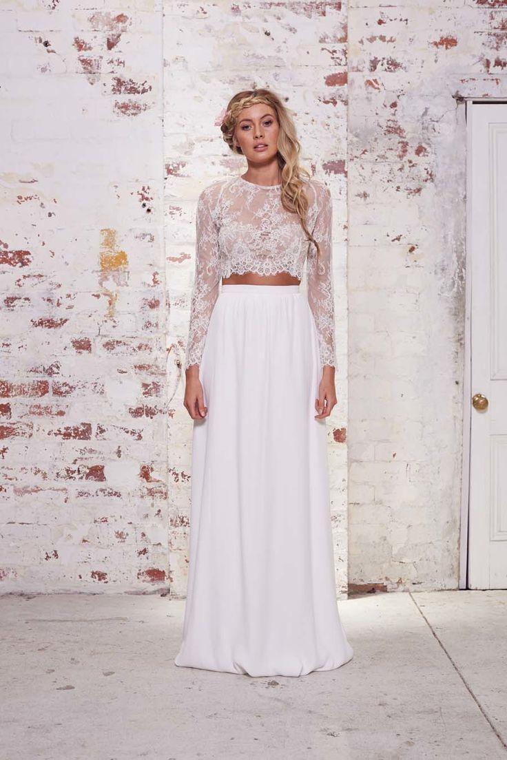 88d07e277d8503 Long Sleeve Lace Crop Top Wedding Dress