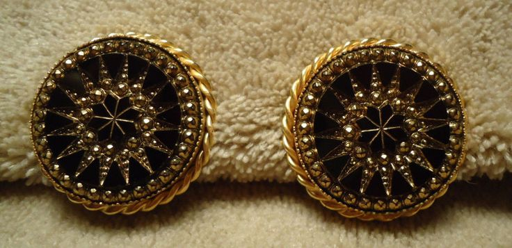 Vintage Large Gold tone Round Black Rhinestone  Style Clip On Earrings #Unbranded #Huggie