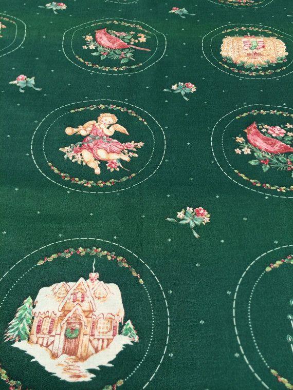 Green Christmas Fabric   Green Holiday Material by dixiechina, $8.00