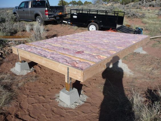 Cabin floor insulation house pinterest insulation for Cabin foundation piers