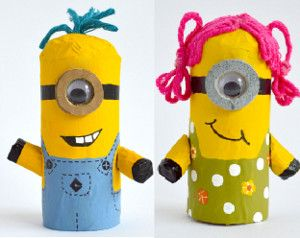 Toilet Tube Minion Mates are the cutest toilet paper roll crafts. The kids will just LOVE bringing minions home.