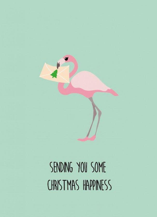 Sending you some christmas happiness Sending you some christmas happiness flamingo kerstkaart is geschikt voor iedereen die van kerst houdt en van een grapje in de tekst.