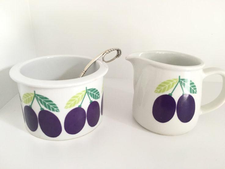 Arabia Pomona plum jar sugar bowl and creamer / vintage pomona luumuu plums ceramic pot home decor / Scandinavian modern mid century by VintageDesignTreats on Etsy https://www.etsy.com/listing/459377806/arabia-pomona-plum-jar-sugar-bowl-and