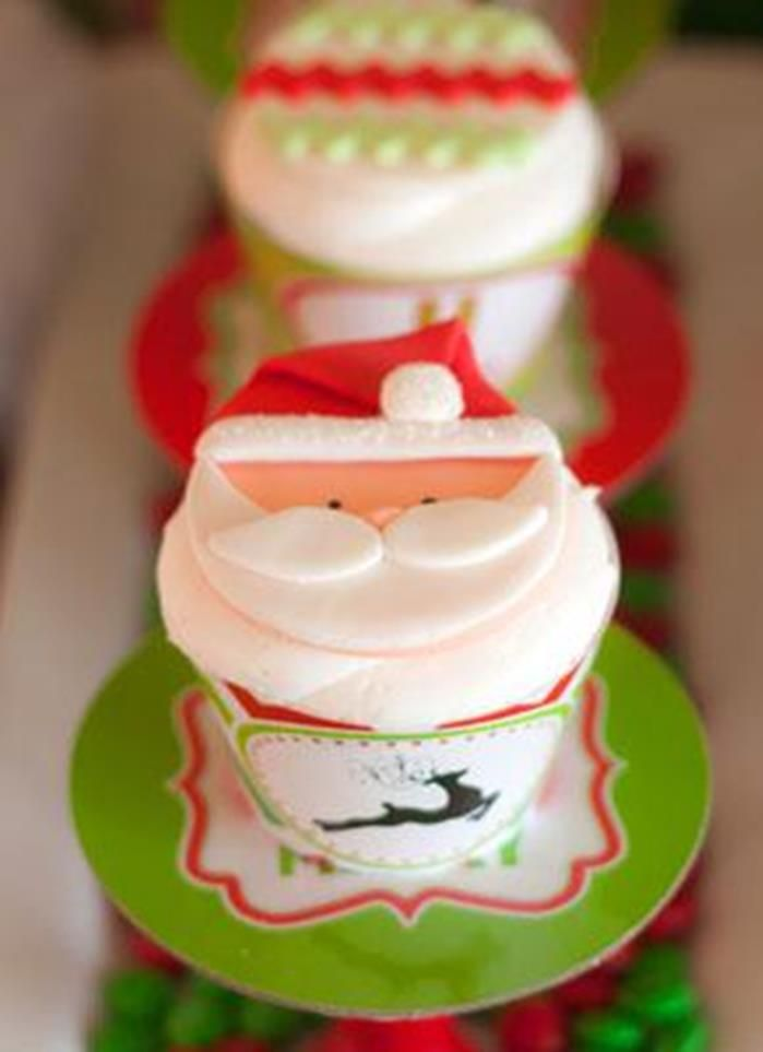 Cupcakes at a Santa's Little Helpers Christmas Party with Such Cute Ideas via Kara's Party Ideas | KarasPartyIdeas.com #ChristmasParty #HolidayParty #PartyIdeas #SantaParty #Cupcakes