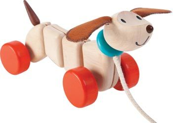 PlanToys Happy Puppy ❤️ An adorable happy puppy! This cheerful pup will happily play along with active toddlers as it wiggles and wags when it's pulled along.
