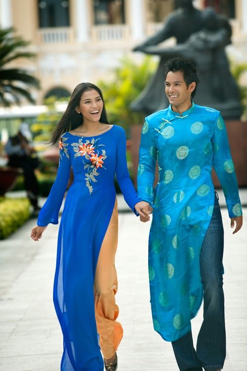 Vietnamese couple in their traditional attire