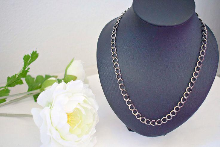 Gunmetal Chain Necklace - Everyday Jewelry - Plain Necklace - Chainmail Jewelry - Curb Chain Necklace - Lightweight Jewelry by SkadiJewelry on Etsy