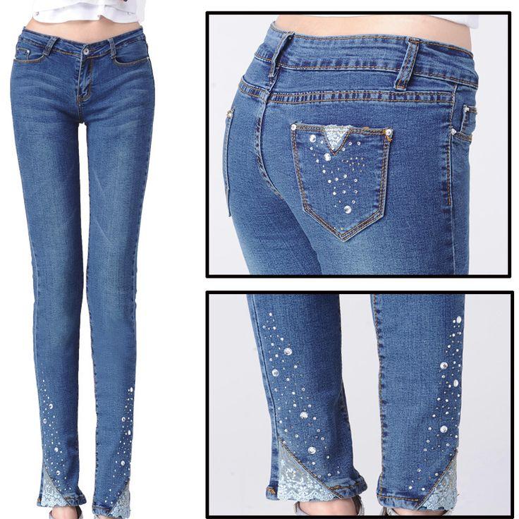Джинсовые срок годности тощий Mid полосой хлопка женщин джинсы 2015 новый свет весной цветные джинсы женская горный хрусталь ноги карандаш брюки