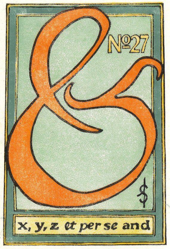 No. 27 - Ampersand Multi Block Linocut Fine Art Print: Ampersand Collection, Art Prints, Fine Art, 27 Ampersand, Ahhh Ampersand, Ampersand Stuff, Ampersand Multi, Art Printmaking, Ampersand Typography