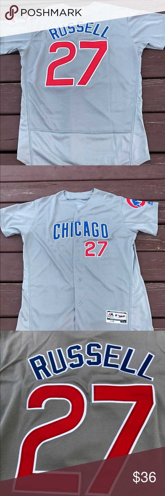 Men's Addison Russell Chicago Cubs Road Jersey L Men's Chicago Cubs Addison Russell gray alternate jersey. Made by Majestic Athletic, size Large(44), fully embroidered, brand new with tags On-Field Flex Base jersey. I closed my retail store and am liquidating all my inventory. Over 300 jerseys including Bryant. Arrieta. Rizzo. Russell. Schwarber. Baez. Sandberg. Dawson. Men, Women, Kids and Throwbacks! Need a W flag? I've got those too! Majestic Shirts Casual Button Down Shirts