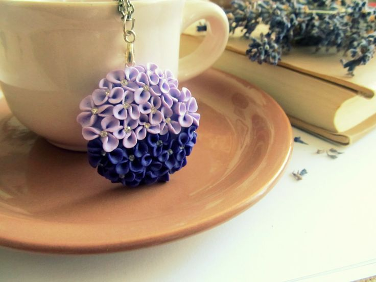 Flower pendant made from polymer clay Handmade by Hagumi