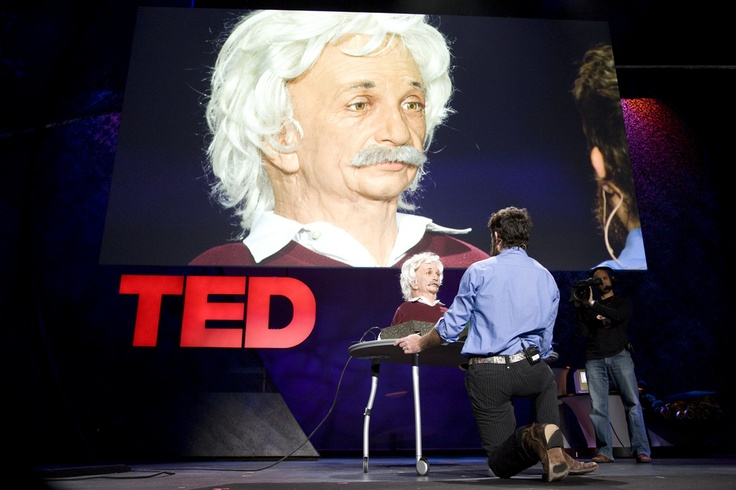 That's not Einstein, but it sure does look like him. David Hanson introduces emotive robots. See him in action here: http://www.ted.com/talks/david_hanson_robots_that_relate_to_you.html