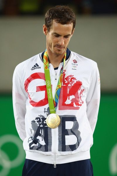 Andy Murray Photos - Gold medalist Andy Murray of Great Britain poses on the podium during the medal ceremony for the men's singles on Day 9 of the Rio 2016 Olympic Games at the Olympic Tennis Centre on August 14, 2016 in Rio de Janeiro, Brazil. - Tennis - Olympics: Day 9