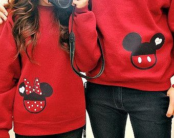 Sweatshirt - Mickey Minnie Mouse - Disney - Love - Custom Sweat Shirt Personalized Applique Head Top
