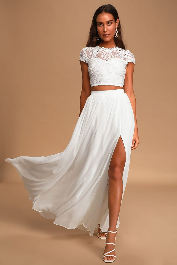 Sweet Stunner White Lace TwoPiece Maxi Dress in 2020