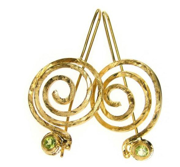 Peridot Spiral earrings Dangling earings Large spiral earrings