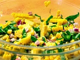 Best corn salad ever!  Super simple and very fresh - can be served at room temperature, works well for picnics.  I've made this a bunch of times because everyone keeps asking me to!
