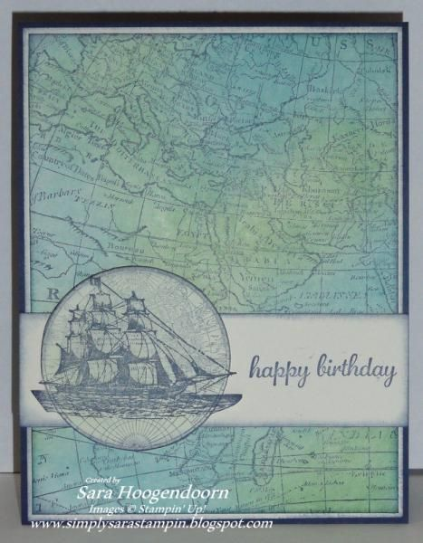 Stamps: The Open Sea, World Map & Express Yourself Paper: Night of Navy & Very Vanilla Ink: Night of Navy, Island Indigo & Garden Green A...