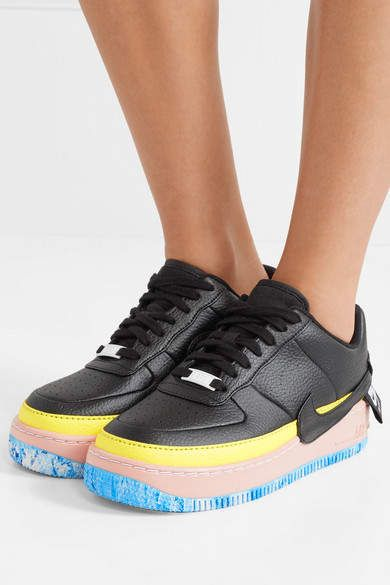 Nike - Air Force 1 Jester Xx Color-block Textured-leather Platform Sneakers  - Black b091ab8aa7a