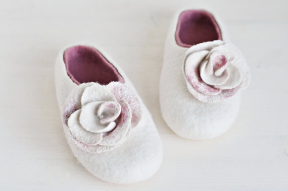 Felted slippers for woman - White & Pink   by ShpilkaFelt, $65.00