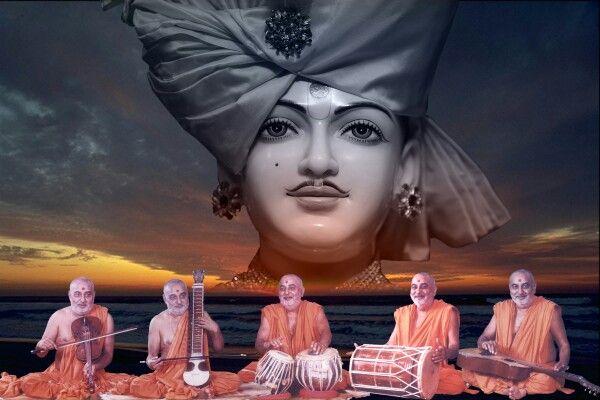 Param Pujya Pramukh Swami Maharaj with Lord Swaminarayan