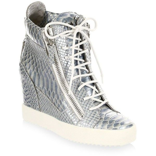 Giuseppe Zanotti Lamay Lorenz Leather Wedge Sneakers ($795) ❤ liked on Polyvore featuring shoes, sneakers, leather lace up sneakers, wedge heel shoes, lace up wedge shoes, lace up shoes and wedge heel sneakers