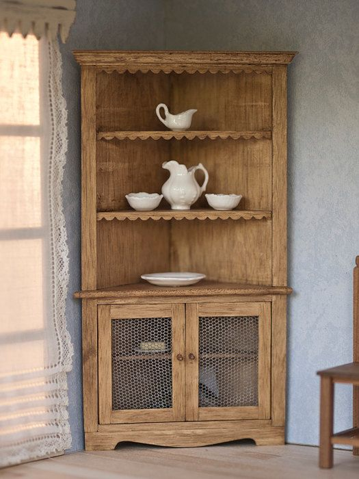 Rustic corner cupboard, miniature for dollhouses, scale 1:12. The accesories are glued and included in the price.Making handmade .