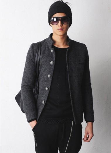 Mens Mandarin Collar Gakuran Woolen Tweed Jacket At Fabrixquare