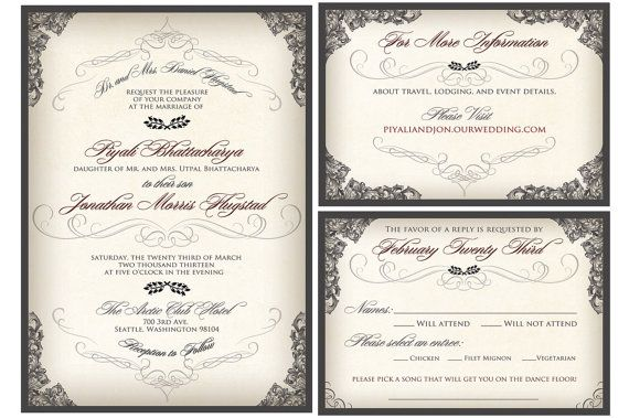 Elegant Wedding Invitation Wording: NEW Elegant Script Wedding Invitation With By