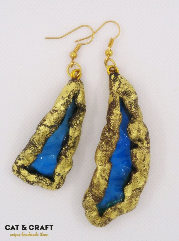 Blue Glass Polymer clay earrings by CatAndCraft on Etsy