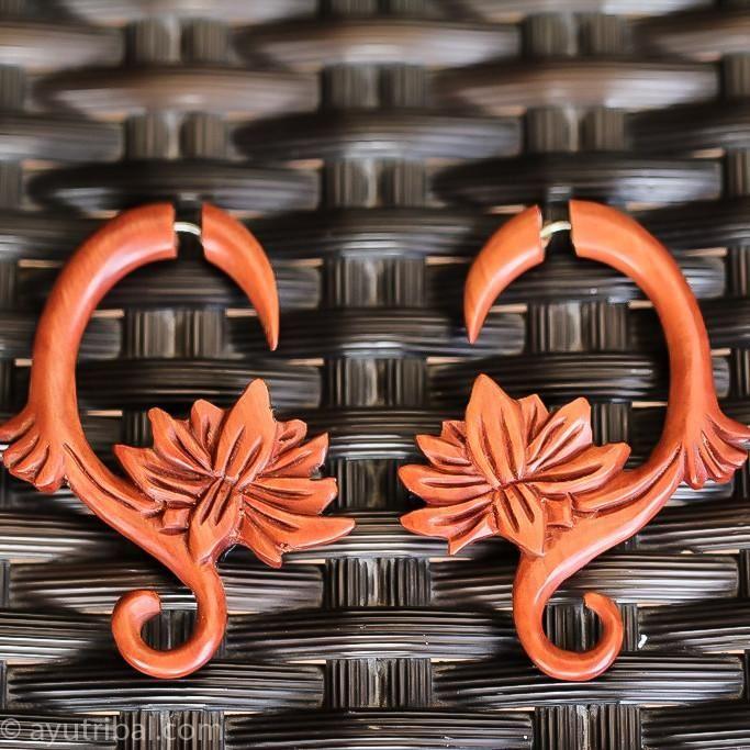 Saba Wood Spiral Lotus Earrings AC086
