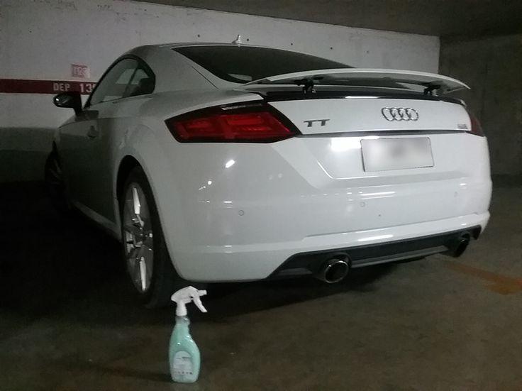 Este #Audi brilla en el estacionamiento del departamento de un Cliente, Magic Clean Car te da la LIBERTAD de limpiar Tu Auto cuando y donde quieras  #lavasinagua #lavaenseco  http://www.magiccleancar.cl