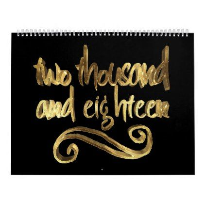 Happy New Year 2018 Elegant Black Gold Typography Calendar - new years day happy new year holiday customize personalize celebrate party