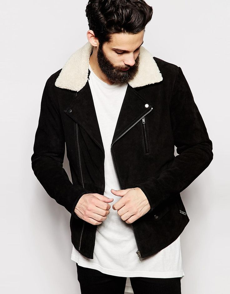 ASOS Leather Jacket With Faux Shearling