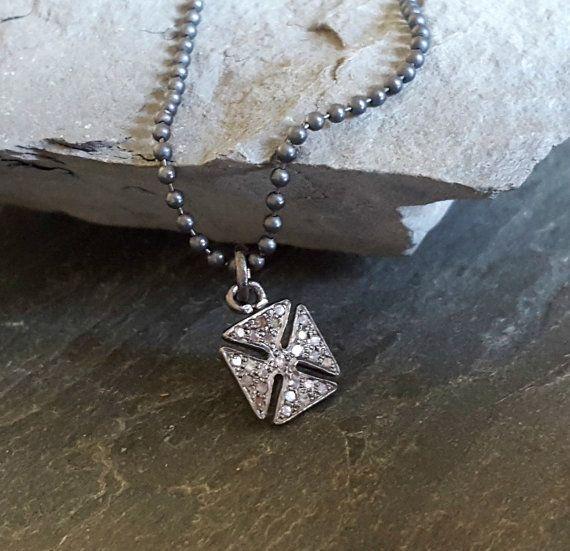 Oxidized Silver Artisan PAVE DIAMOND Pendant Necklace, Maltese Cross, Sterling…