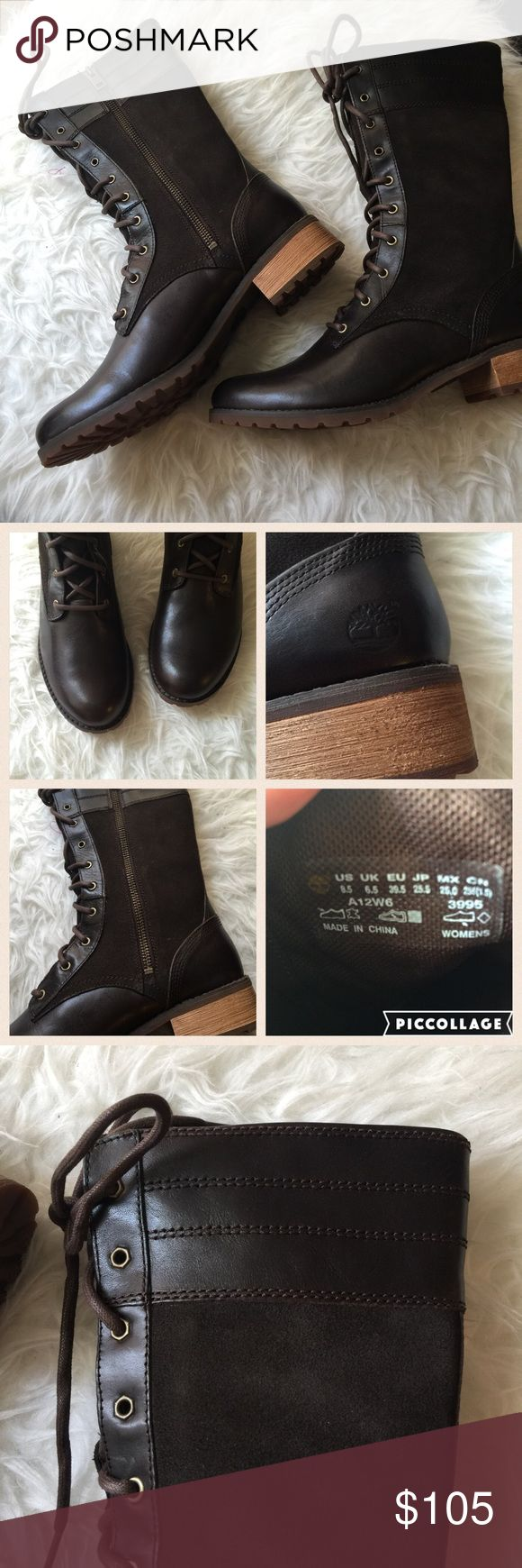 """NWB Timberland high boots Brand new in box.  - Round toe - Lace-up vamp - Leather construction - Topstitching - Side zip closure - Approx. 9.25"""" shaft height - Approx. 1.25"""" heel Timberland Shoes Combat & Moto Boots"""