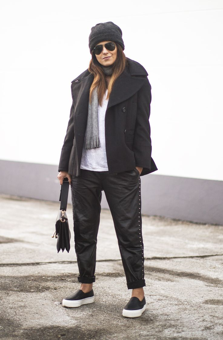 Outfit | Peacoat   Leather Joggers   Slip Ons