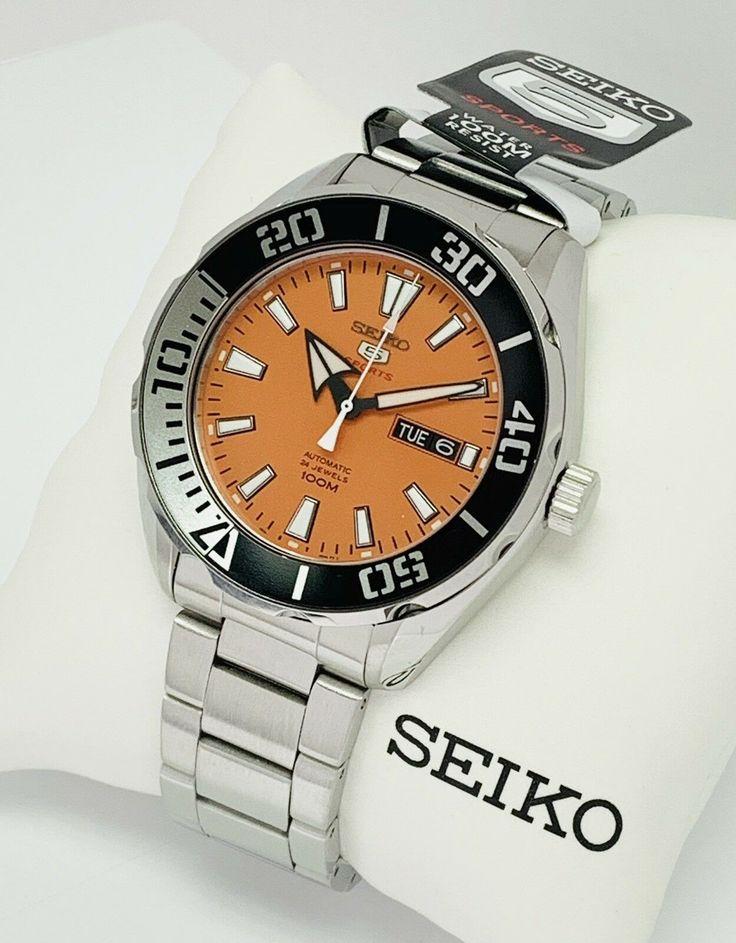 SEIKO 5 Automatic SPORTS 100m 24 Jewels Orange Dial