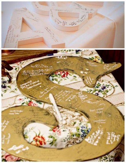 idea for guest book, would be a great piece for the home.: Guestbook Ideas, Unique Guest Books, Cute Ideas, Guest Books Alternative, Shower, Wedding Guest Books, Books Ideas, Last Names, Books Letters