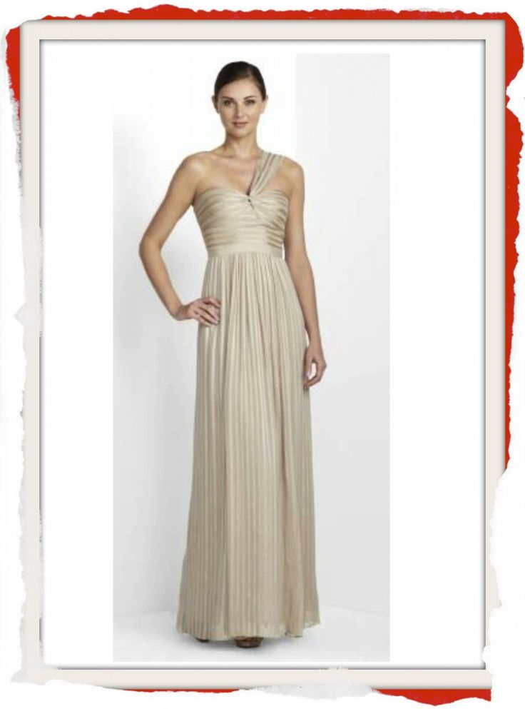 2013: Champagne Silk gown with sweatheart neckline and single shoulder strap feature with built in support by BCBG MaxAzria. $289 info@fashionjazz.com.au