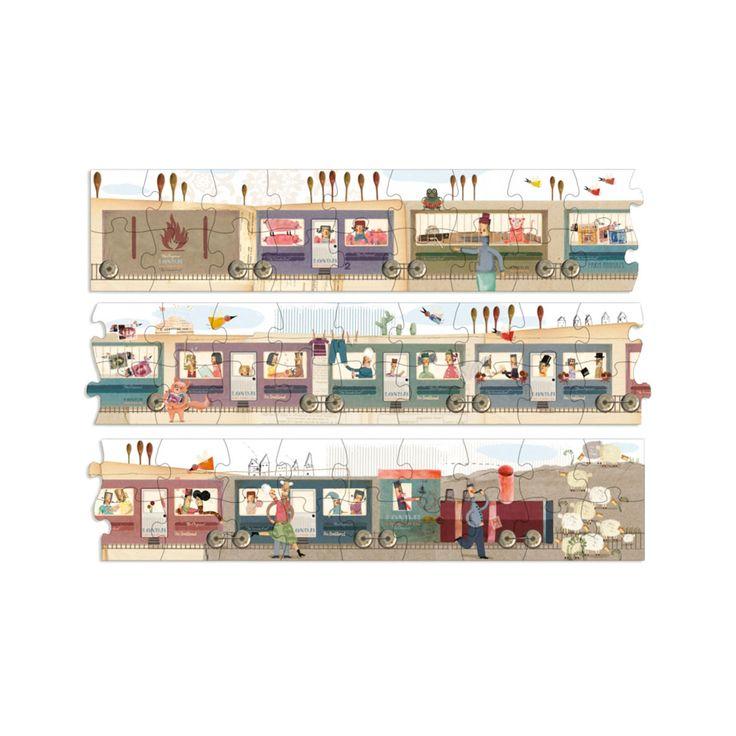 Articolo: PZ300Questo stupendo puzzle misura 2 metri in lunghezza e 15 cm in larghezza. Include 52 pezzi, è realizzato in cartone riciclato ed è consegnato in una confezione resistente che dà idea della forma del puzzle. L'illustrazione riproduce il treno di Londji. I vagoni sono abitati da tanti personaggi che faranno innamorare i più piccini - e anche coloro che tanto piccoli non sono più.