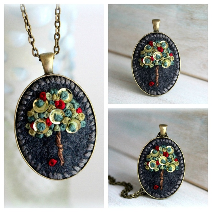 Embroidered Jewelry. Embroidered Necklace. Tree Necklace. Felt Pendant. Cute Necklace. Apple Necklace. Emerald Green. Pantone.. $25.00, via Etsy.
